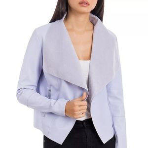 Bagatelle light blue faux leather jacket top